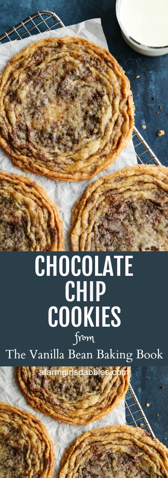 Chocolate Chip Cookies from The Vanilla Bean Baking Book at afarmgirlsdabbles.com - These chocolate chip cookies are like no other. They are big-as-your-head and ultra flat, with a soft and chewy center, surrounded by crinkly, wrinkly prettiness that is the perfect texture of crispy. #cookies #chocolatechipcookies #chocolate #chocolatechip #vanillabeanbakingbook