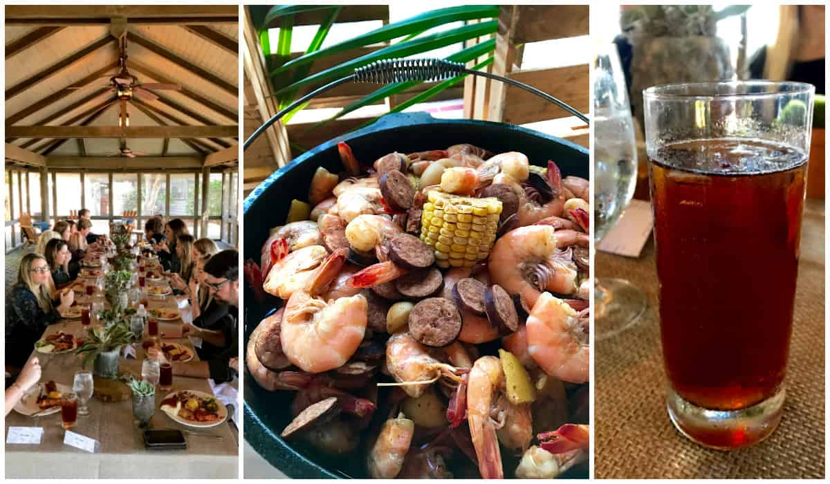 A low country boil at The Cloister on St. Simons Island, Georgia - from afarmgirlsdabbles.com