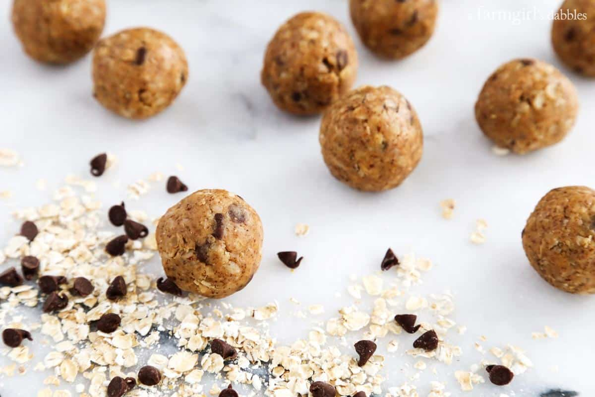 No-Bake Oats and Chocolate Protein Bites from afarmgirlsdabbles.com