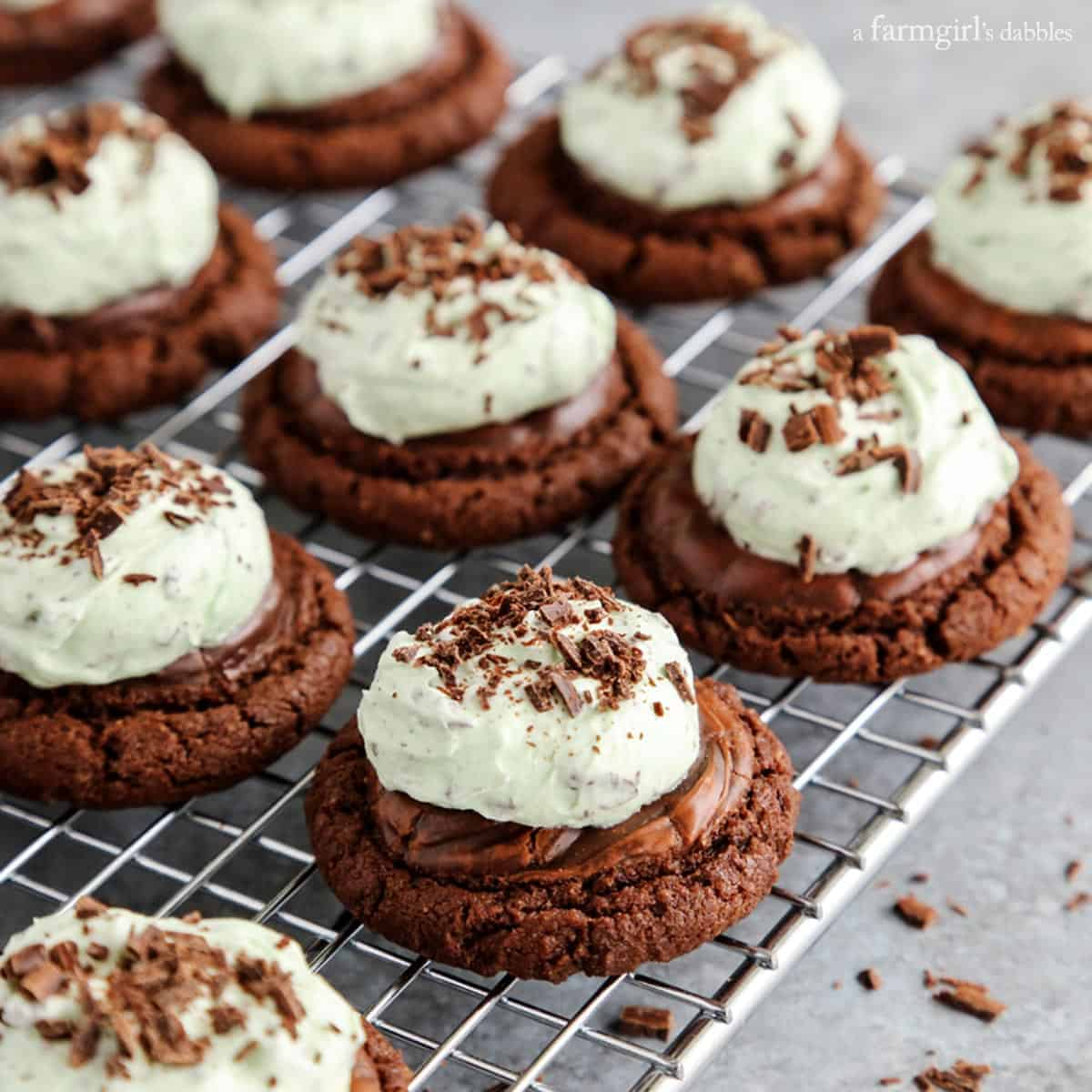 Mint Chocolate Chip Buttercream Brownie Cookies from afarmgirlsdabbles.com