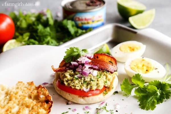 Tuna Guacamole Sandwich with Bacon and fresh cilantro