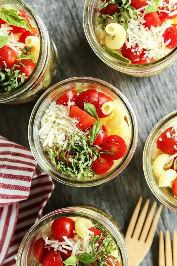 Individual Caprese Pasta Salads in mason jars