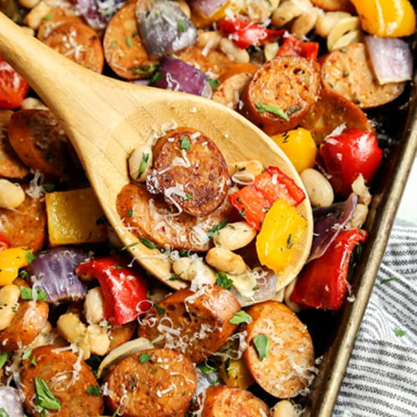 Sheet Pan Italian Chicken Sausage With White Beans And Peppers A