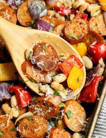 Sheet Pan Italian Chicken Sausage with White Beans and Peppers