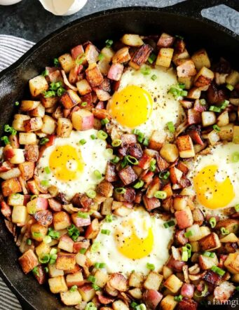 skillet of fried potatoes hash in a cast iron skillet