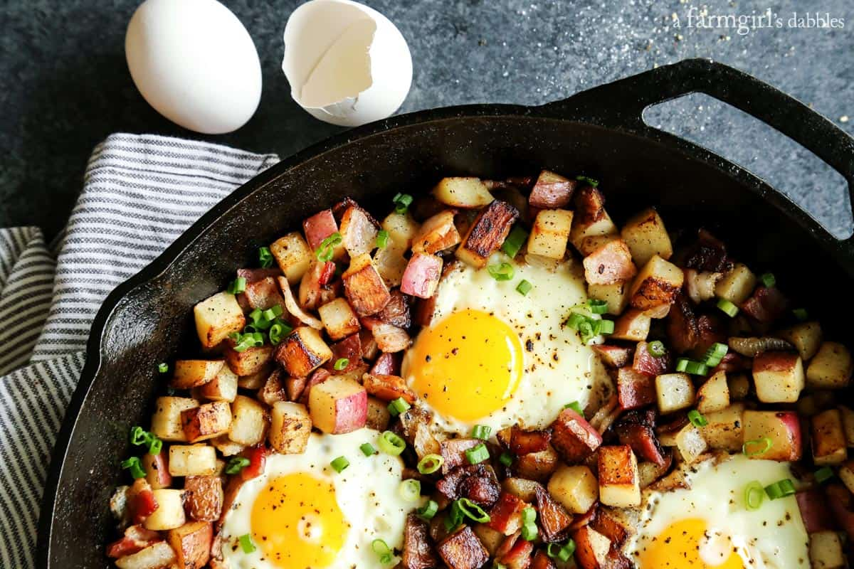 Skillet Fried Potatoes with Bacon and Eggs from afarmgirlsdabbles.com