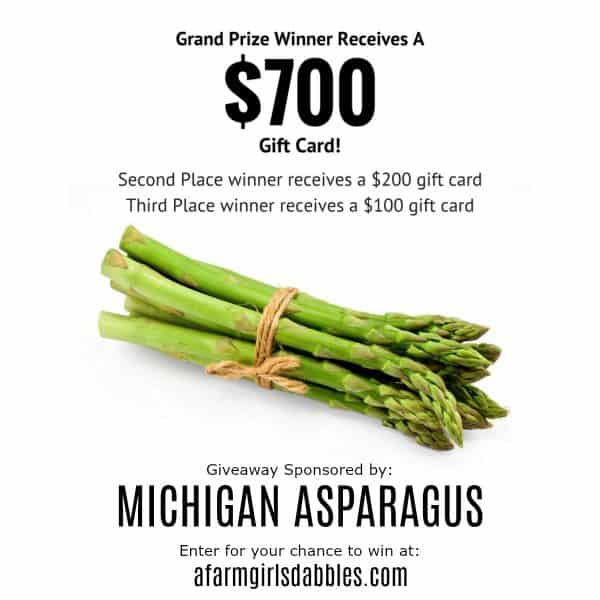 $1000 in Gift Cards Giveaway - sponsored by Michigan Asparagus - enter to win at afarmgirlsdabbles.com