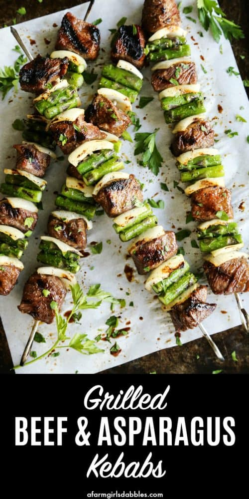 pinterest image of Sugar Grilled Beef and Asparagus Kebabs