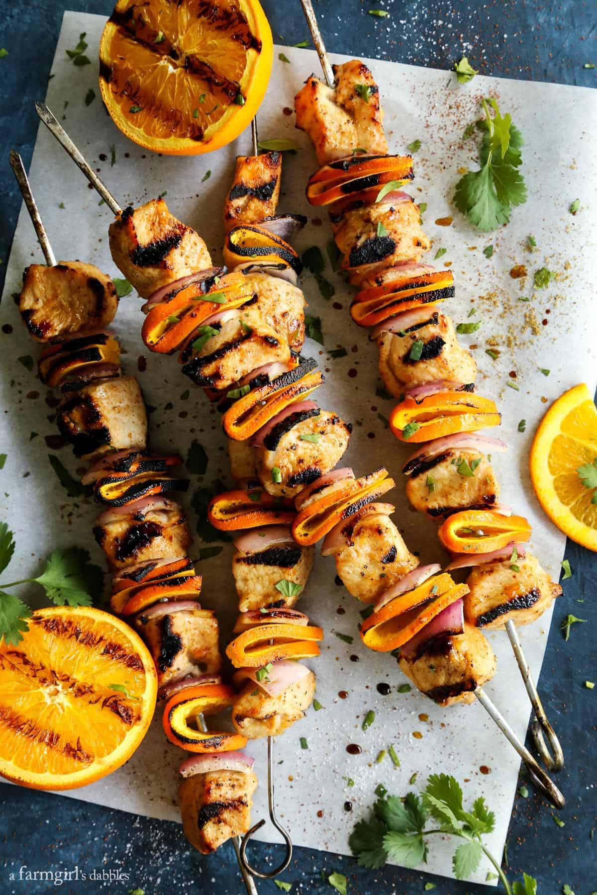Grilled Chipotle Orange Turkey Kebabs from afarmgirlsdabbles.com