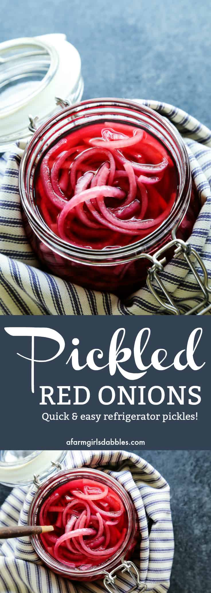 Pickled Red Onions from afarmgirlsdabbles.com - A truly versatile and addictive condiment, these pickled red onions take just a few minutes to make! #redonions #redonion #pickled #pickledredonions #pickledonions