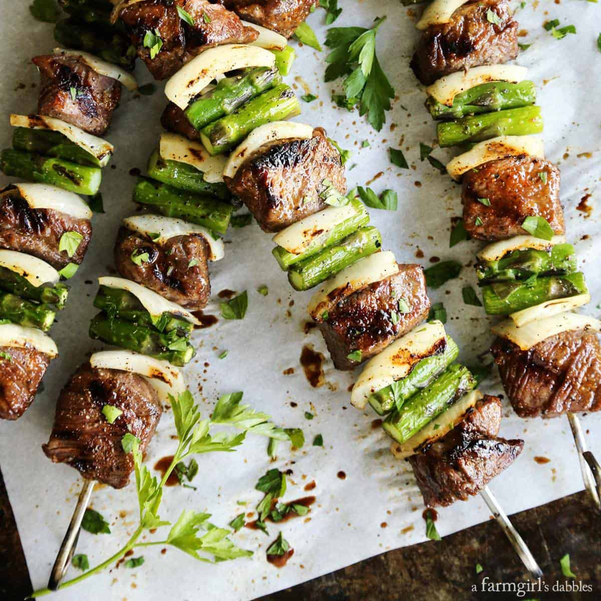 Sugar Grilled Beef and Asparagus Kebabs from afarmgirlsdabbles.com