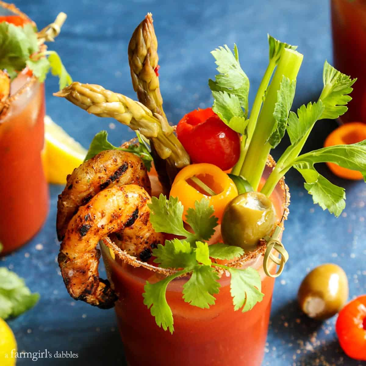 5 Pepper Bloody Mary with Grilled Jalapeño Shrimp from afarmgirlsdabbles.com