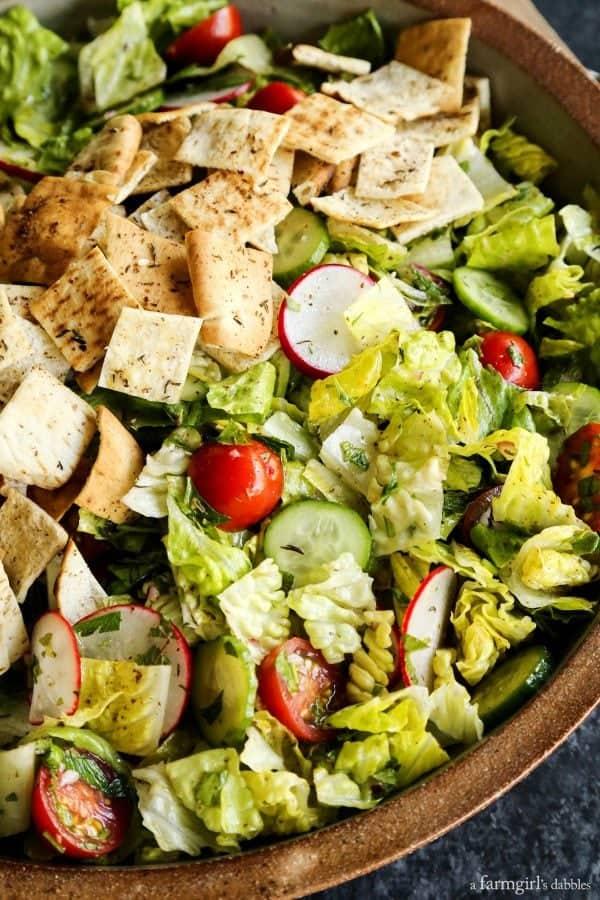 Fattoush Salad with pita chips