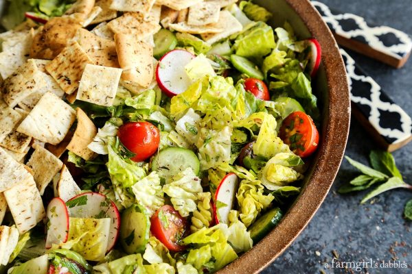 Fattoush Salad in a pottery bowl
