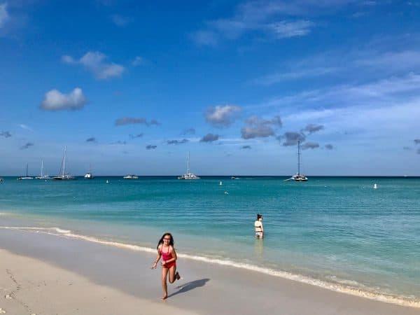 two girls on the beach in aruba