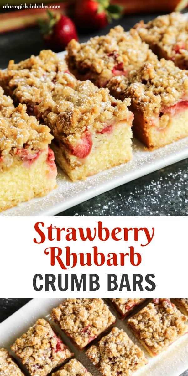 Strawberry Rhubarb Crumb Bars from afarmgirlsdabbles.com #strawberry #rhubarb #bars #crumb #dessert #spring