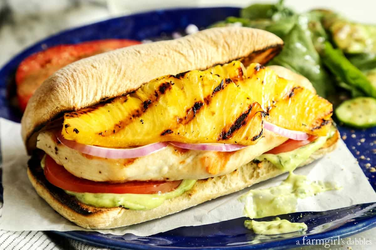 Grilled Chicken and Pineapple Sandwich with Creamy Basil Sauce from afarmgirlsdabbles.com