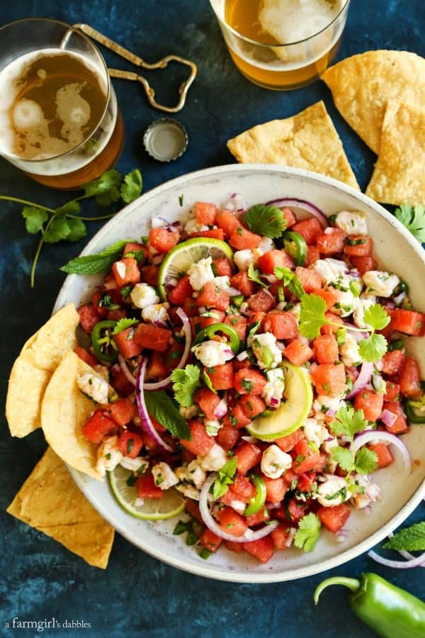A bowl of watermelon ceviche with chips