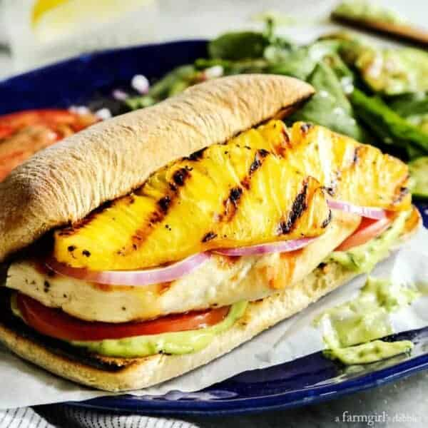Grilled Chicken and Pineapple Sandwich with Creamy Basil Sauce