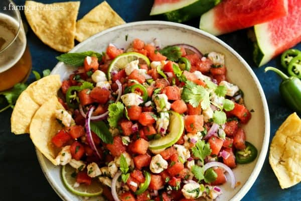 Watermelon and Shrimp Ceviche in a white pottery bowl