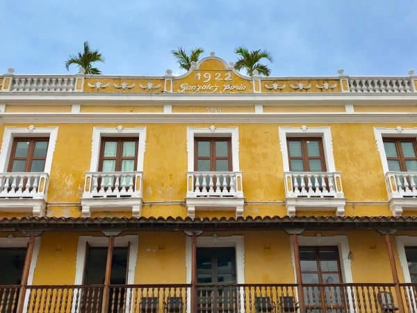 a yellow building in Cartagena, Colombia
