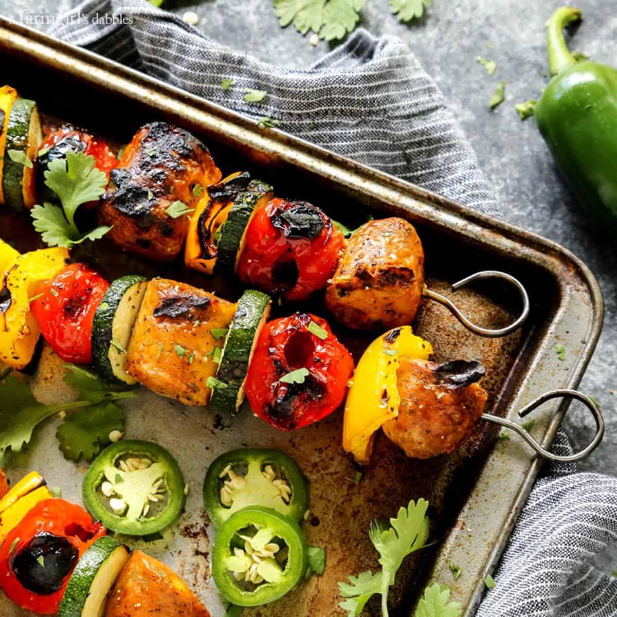 Grilled Jalapeno Cheddar Chicken Sausage Kebabs with Peppadews