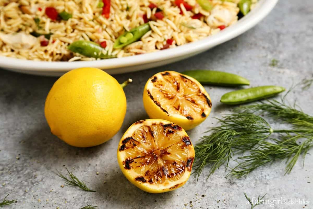Grilled Chicken and Lemon Orzo Salad from afarmgirlsdabbles.com