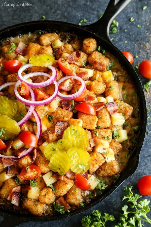 Bacon Cheeseburger Tater Tot Hotdish in a cast iron skillet