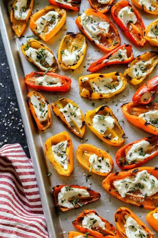Grilled Mini Sweet Peppers with Goat Cheese from afarmgirlsdabbles.com