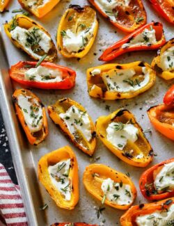 Grilled Mini Sweet Peppers with Goat Cheese