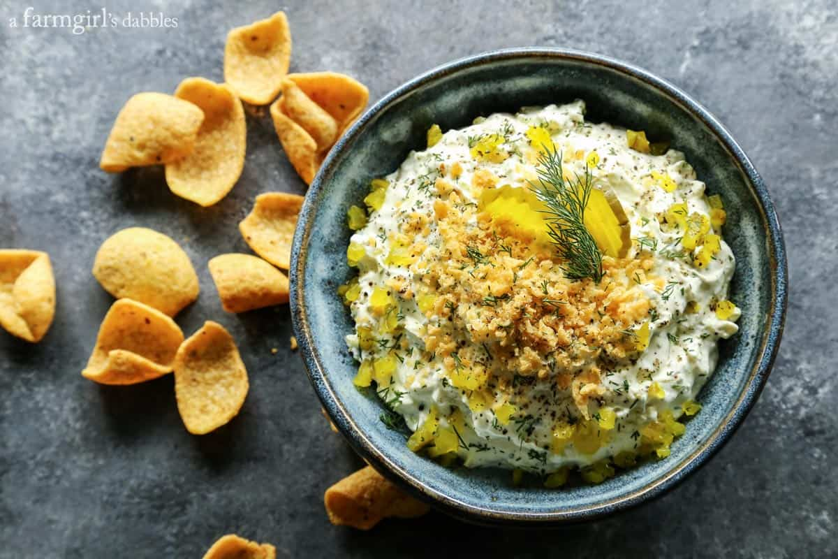 Dill Pickle Dip from afarmgirlsdabbles.com