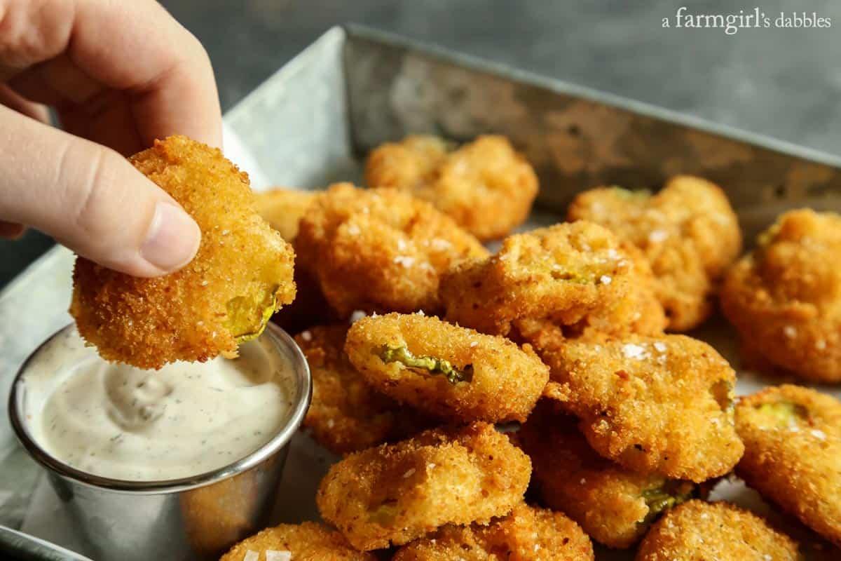 Fried Pickles from afarmgirlsdabbles.com