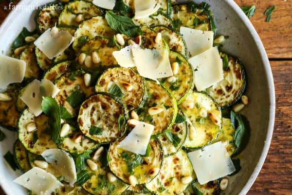Grilled Zucchini Salad with Lemon-Herb Vinaigrette from afarmgirlsdabbles.com