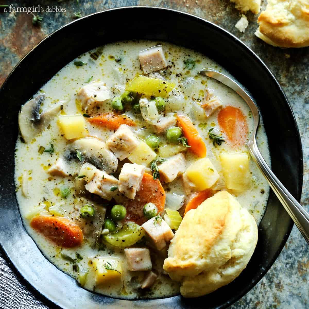 Smoked Turkey Pot Pie Soup from afarmgirlsdabbles.com