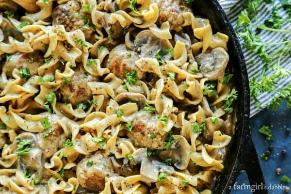 Extra Peppery Chicken Meatball Stroganoff with fresh herbs