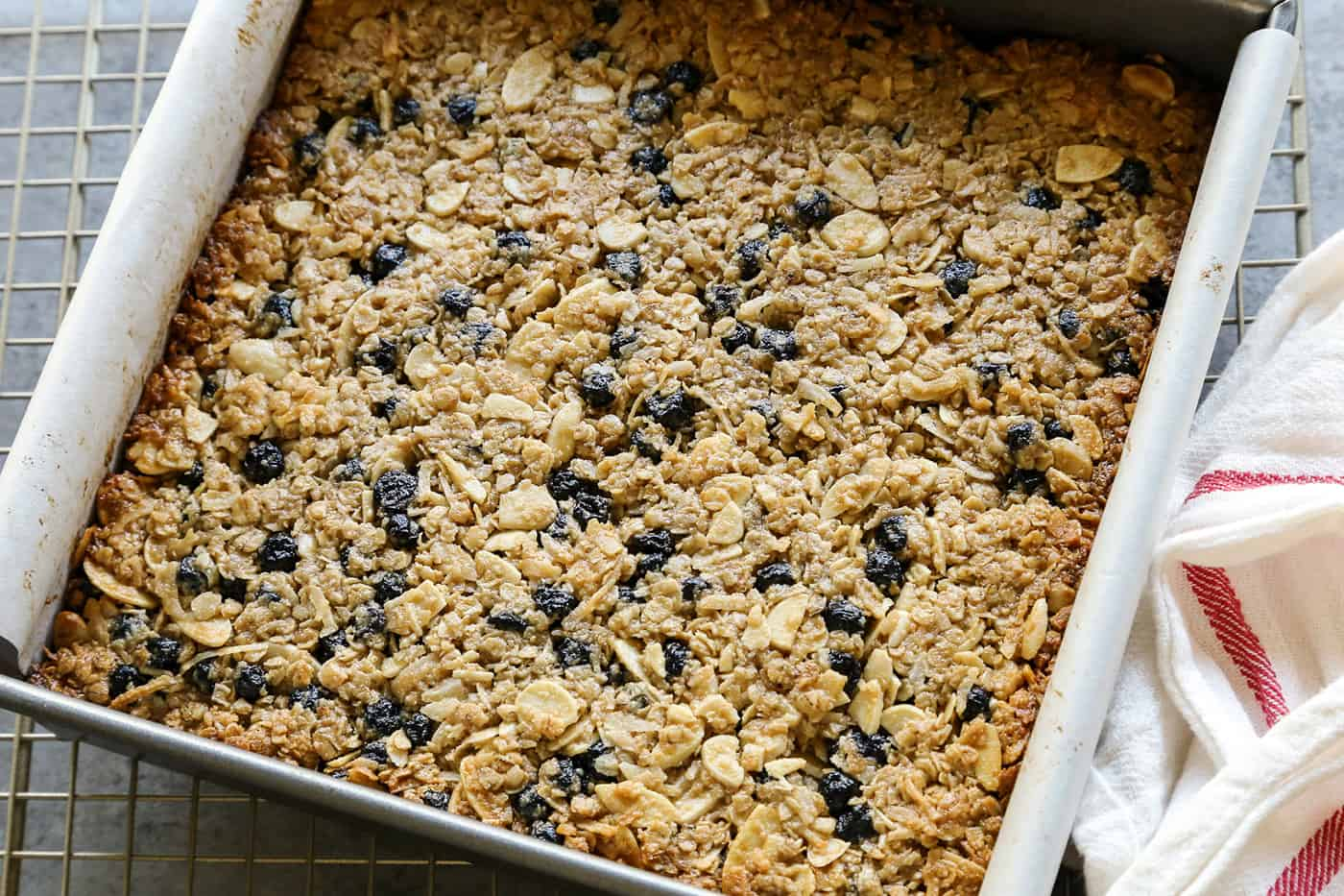 A pan of chewy granola bars ready to be baked