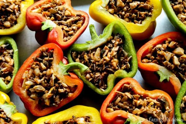Mushroom and Wild Rice Stuffed Peppers from afarmgirlsdabbles.com