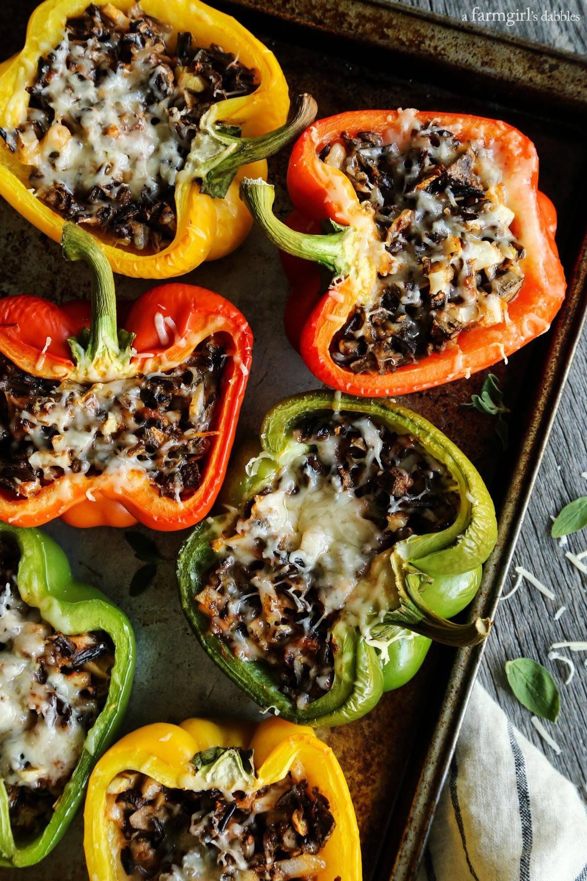 Mushroom and Wild Rice Stuffed Peppers from afarmgirlsdabbles.com