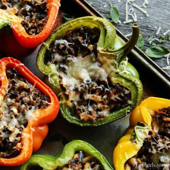 Mushroom and Wild Rice Stuffed Peppers