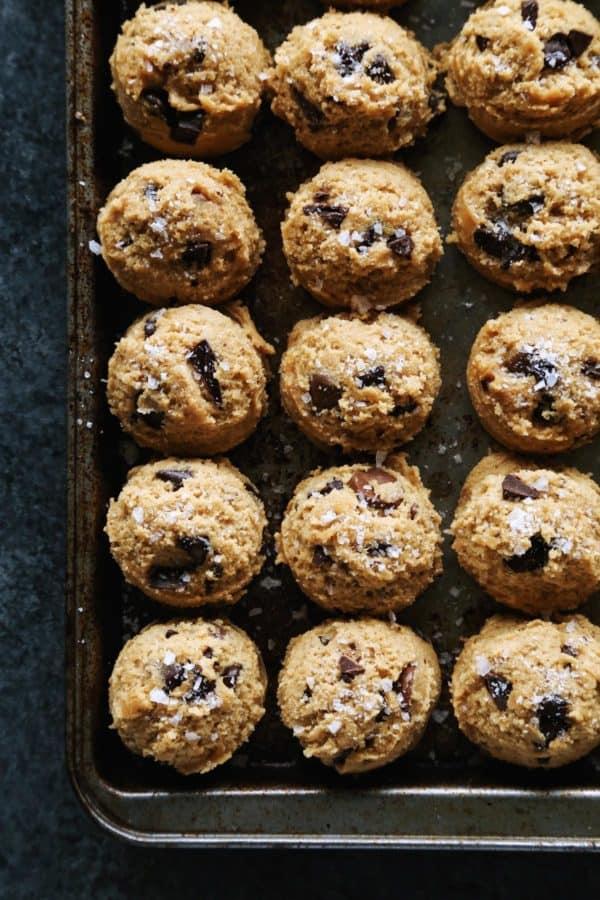 a pan of cookie dough
