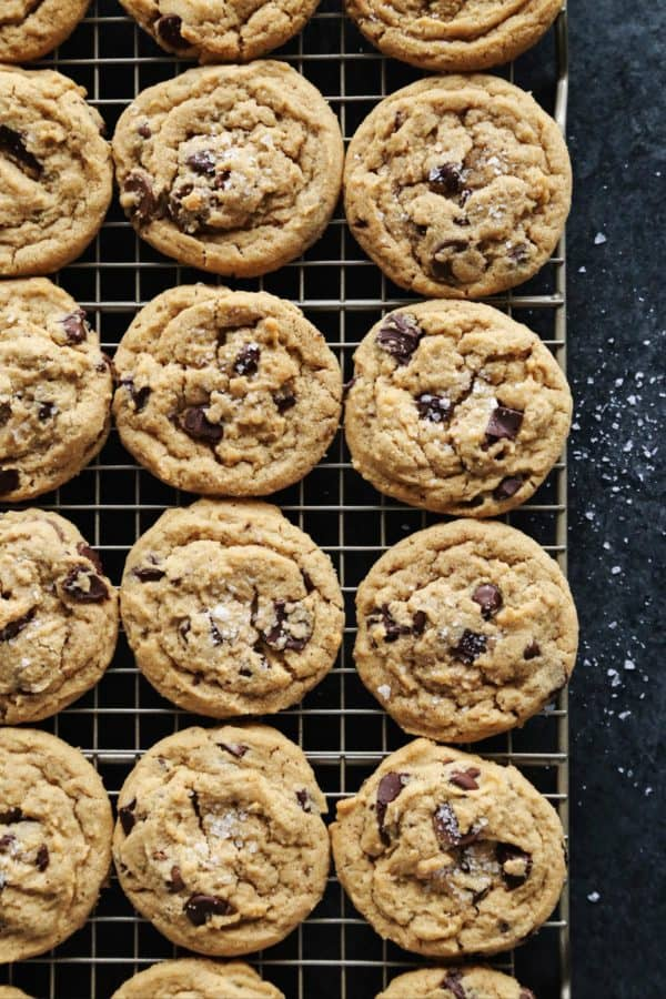 peanut butter chocolate chip cookies on cooling rack