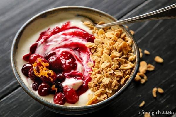 bowl of yogurt with granola and cranberry sauce