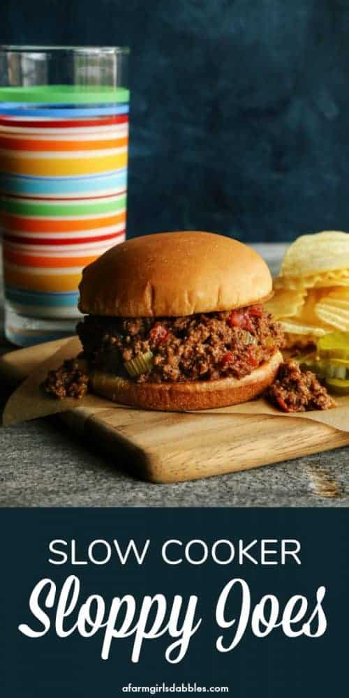 pinterest image of classic sloppy joes sandwich with a tall glass of milk