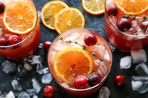 glasses of gin and tonic with cranberries and clementines