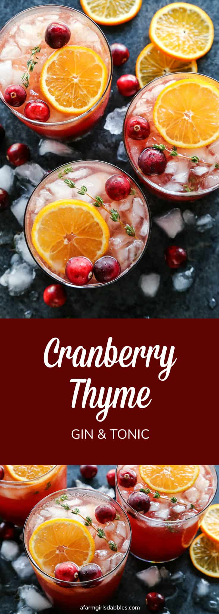 Pinterest image for cranberry thyme gin and tonic