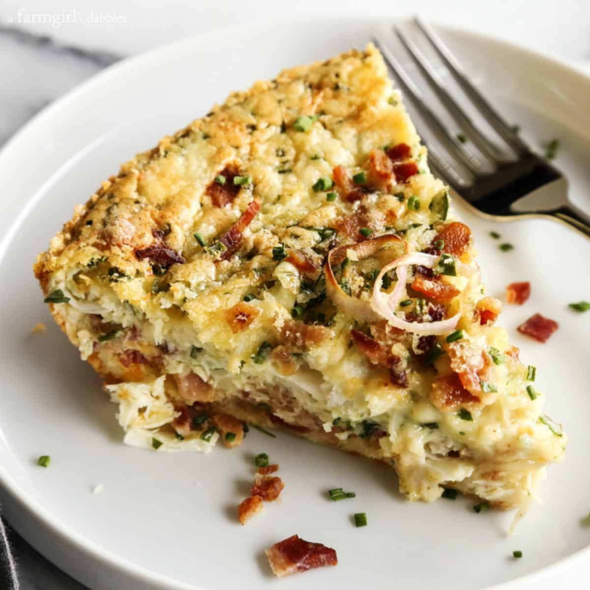 Garden Vegetable Crustless Quiche: Herby-Crustless-Quiche-with-Crab-and-Bacon