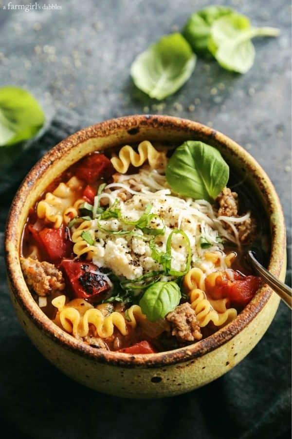 Bowl of comforting lasagna soup
