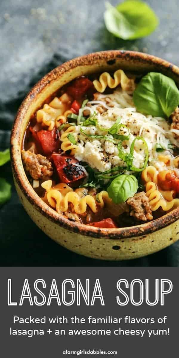 Pinterest image for lasagna soup