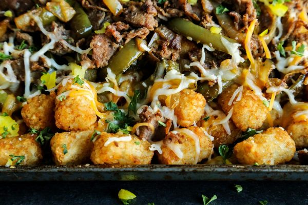 tater tots with meat and cheese
