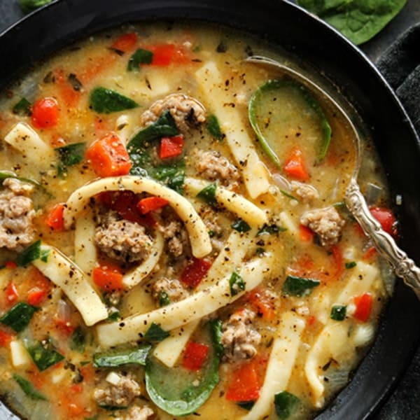 Sausage And Red Pepper Soup With Egg Noodles A Farmgirl S Dabbles